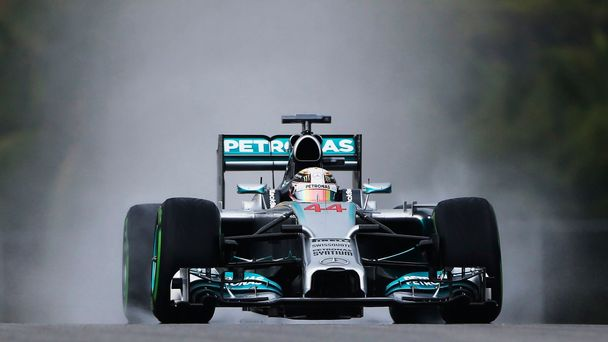 Mercedes Formula One driver Hamilton of Britain drives during the qualifying session for the Malaysian F1 Grand Prix at Sepang International Circuit outside Kuala Lumpur