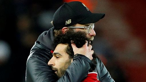 Soccer Football - Premier League - Liverpool v Leicester City - Anfield, Liverpool, Britain - January 30, 2019  Liverpool manager Juergen Klopp and Liverpool's Mohamed Sa