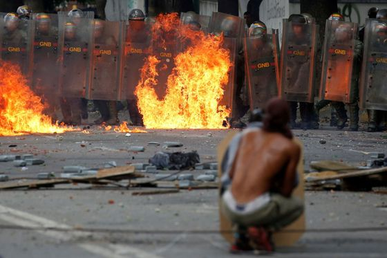 Demonstrace ve Venezuele.