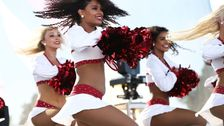 The Arizona Cardinals cheerleaders perform during the NFL Draft watch party at State Farm Stadium on Apr. 25, 2019 in Glendale