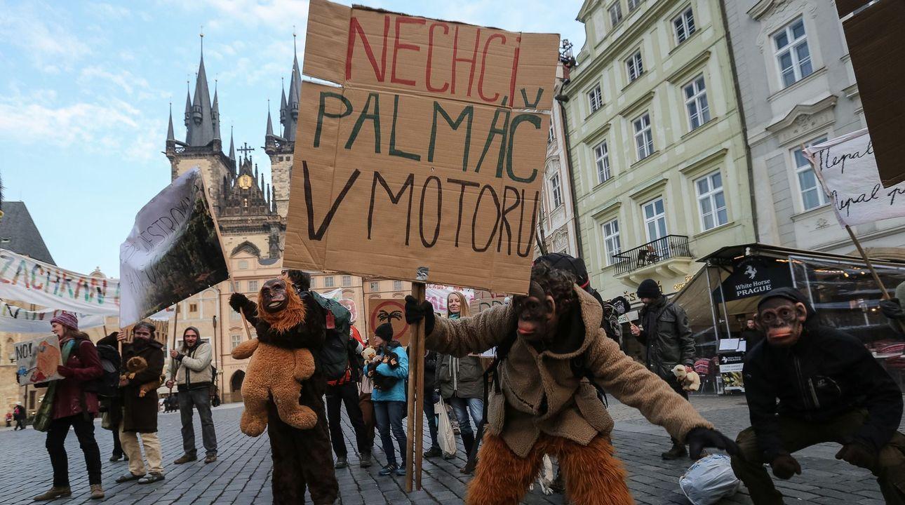 Foto z Prahy: Lidé jako opice protestovali proti spalování palmového oleje v motorech