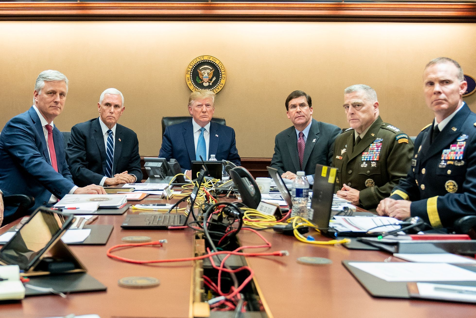 U.S. President Donald Trump watches as U.S. Special Operations forces close in on ISIS leader Abu Bakr al-Baghdadi, in the Situation Room of the White House in Washington