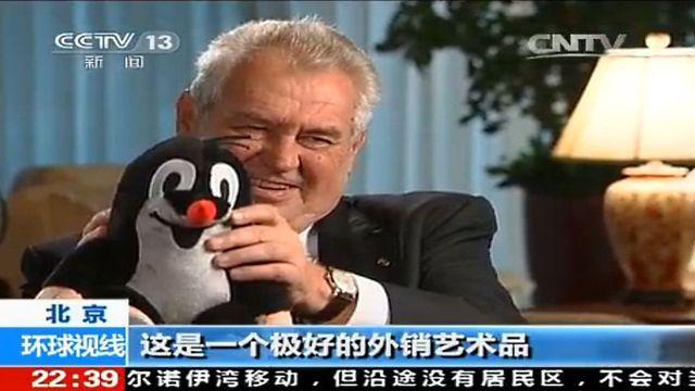 Výsledek obrázku pro rozhovor v čínské televizi zeman čína