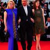 "Director Jacquot poses with actresses Deneuve, and Mastroianni during the red carpet for the movie ""3 Coeurs"" (3 Hearts) at the 71st Venice Film Festival"