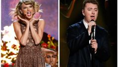 Combination photo shows Grammy nominees Taylor Swift and Sam Smith performing at the 42nd American Music Awards