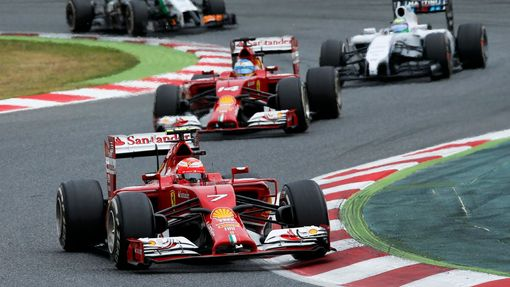 Ferrari Formula One driver Kimi Raikkonen of Finland steers during the Spanish F1 Grand Prix at the Barcelona-Catalunya Circuit in Montmelo, May 11, 2014. REUTERS/Albert